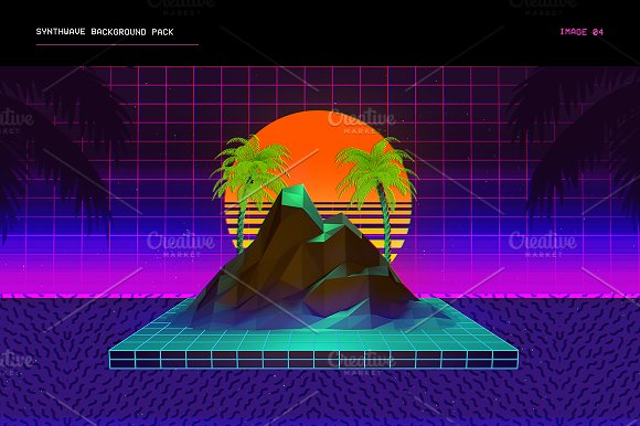 synthwave retrowave background pack web elements creative market