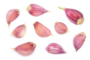 garlic isolated on white background. Top view. Flat lay pattern