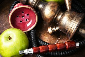Stylish asian shisha with green appl