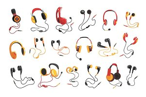 Headphones and earphones set, music technology accessory vector Illustrations