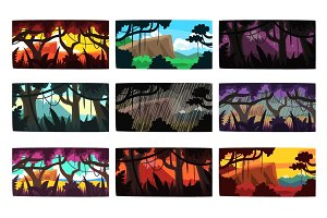 Tropical jungle landscapes set in different times of day