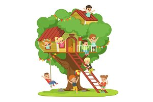 Kids having fun in the treehouse, childrens playground with swing and ladder colorful detailed vector Illustration