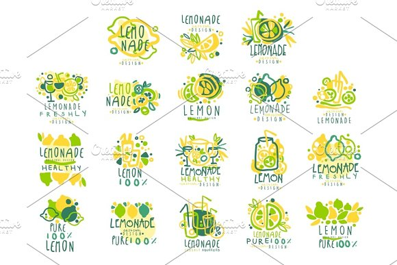 Lemonade 100 Percent Pure Lemon Set For Label Design Hand Drawn Colorful Vector Illustrations