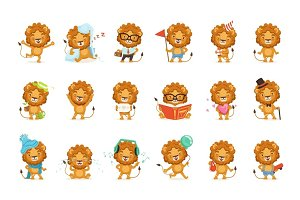 Cute lion characters posing in different situations colorful vector Illustrations