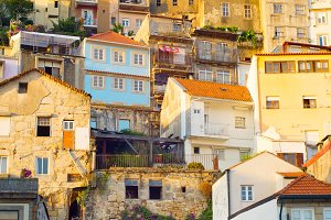 Old Town of Porto at sunset. Portuga