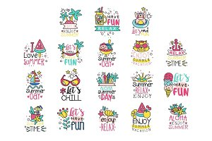 Cute summer labels set, enjoy summer vacation hand drawn colorful vector Illustrations