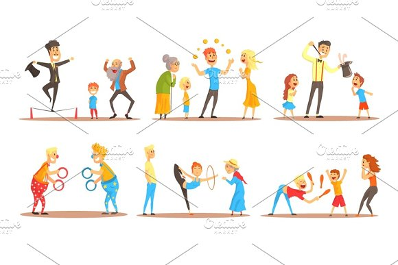 Young Man Character Juggling With Orange Balls Before Happy People Circus Or Street Actor Colorful Cartoon Detailed Vector Illustration