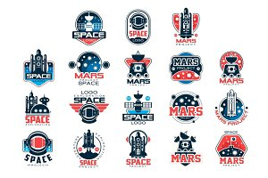 Mars project labels set, Mars colonization program vector Illustrations