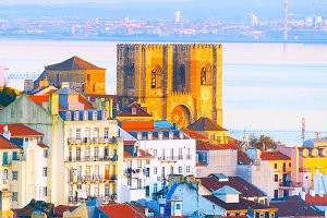 famous Lisbon Cathedral. Portugal