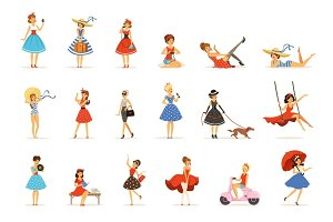 Beautiful retro girls characters set, young women wearing dresses in retro style colorful vector Illustrations