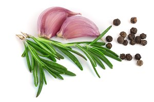 garlic with rosemary and peppercorn isolated on white background. Top view