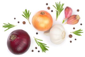 red onions, garlic with rosemary and peppercorns isolated on a white background. Top view. Flat lay