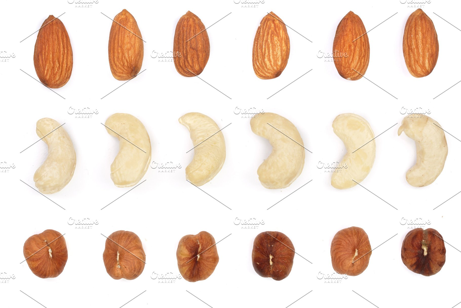 Mix Nuts Almonds Cashews Hazelnuts Isolated On White Background Top View Flat Lay