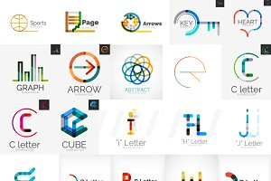 Overlapping line logo designs