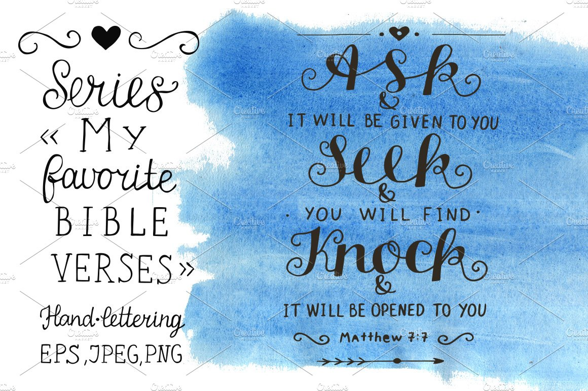 my favorite bible verses ask illustrations creative market