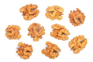 walnut kernels isolated on white background. Top view. Flat lay