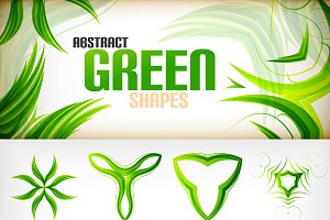 Abstract green shapes set
