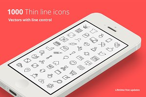 1000 Vector Line Icons Set  +WebFont