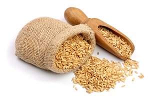 oat grains in wooden scoop and bag isolated on white background