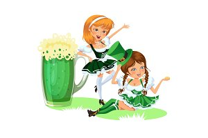 Saint patrick day characters, sexy girl in stockings with mug of green beer, glass full alcohol ale, woman in short dress, cartoon lady in costume isolated on white vector illustration.