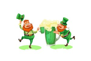 Saint patrick day characters, leprechaun with mug of green beer, glass full alcohol ale, drunk man in costume and cylinder with celtic irish symbol of luck shamrock leaf, cartoon elf sits near pot full gold money isolated on white vector illustration