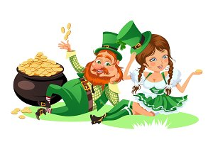 Saint patrick day characters, leprechaun and girl with mug of green beer, glass full alcohol ale, drunk man in cylinder symbol of luck shamrock, cartoon elf sits near pot full gold money isolated on white vector illustration