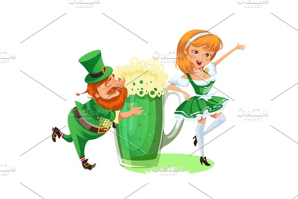 Saint patrick day characters, leprechaun and girl with mug of green beer, glass full alcohol ale, drunk man in cylinder symbol of luck shamrock, cartoon elf isolated on white vector illustration