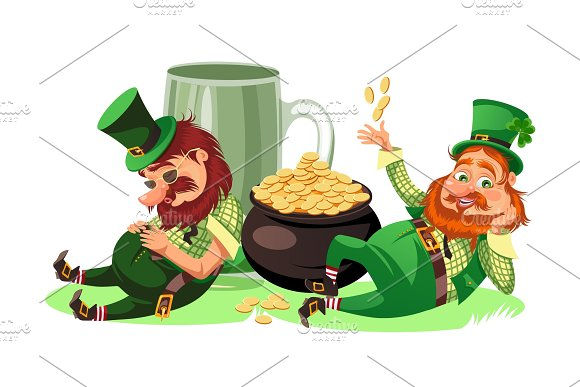Saint patrick day characters, leprechaun with mug of green beer, glass full alcohol ale, drunk man in cylinder symbol of luck shamrock, cartoon elf sits near pot full gold money isolated on white vector illustration