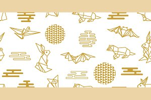 Golden Origami Animals and Flowers