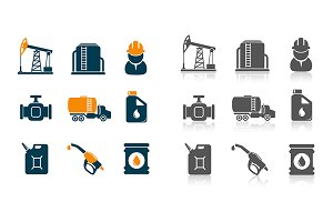 Oil and gasoline processing icons