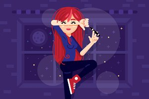 Red Hair Cool Girl Illustration