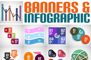 Paper ribbon infographics