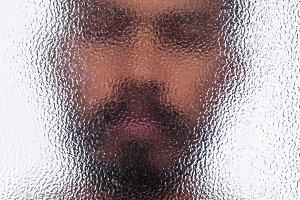 Blured unidentified man portrait