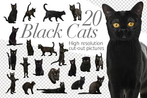 20 Black Cats - Cut-out Pictures