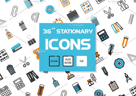 36x3 Stationary Icons