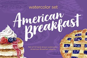 Watercolor Breakfast Vector Set