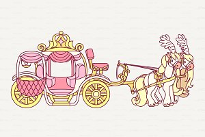♥ vector color cinderella carriage