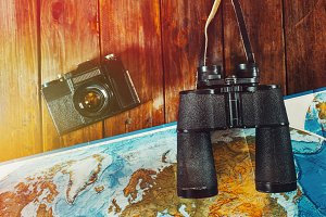 Vintage Black Film Camera, Map And B