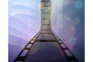 Filmstrip roll on the abstract background.