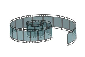 Vector illustration of realistic filmstrip roll. Cinema and movie element or object.