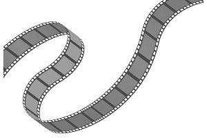 Filmstrip roll. Cinema and movie element or object.