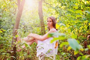 Beautiful woman in forrest
