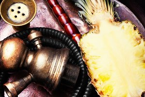 Stylish oriental shisha with pineapp