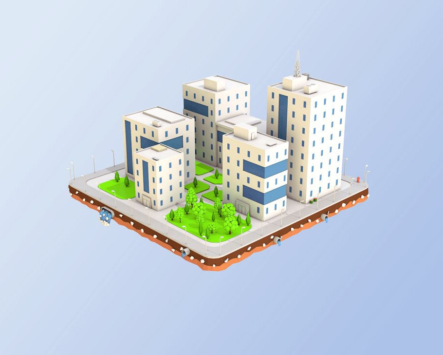 Low Poly City Block Office Buildings