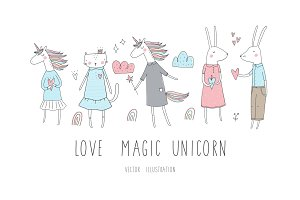 Love, bunny, unicorn hand drawn set