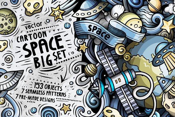 Space Cartoon Doodle Big Pack