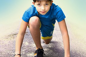 boy  prepare to have running event contest