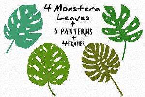 4Monstera leaves +4patterns