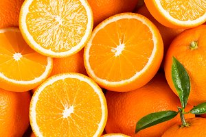 Oranges as the background.