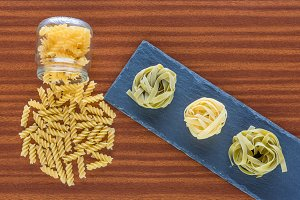 Fusilli and tagliatelle prepared